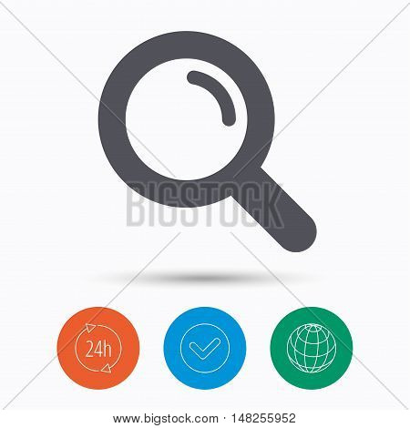 Magnifier icon. Search magnifying glass symbol. Check tick, 24 hours service and internet globe. Linear icons on white background. Vector
