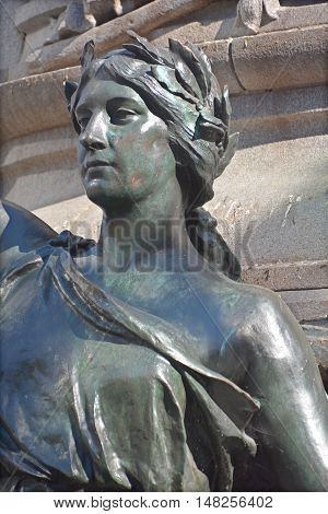 MONTREAL CANADA 09 17 2016: Details of The Edward VII Monument is a statue of King Edward VII by artist Louis-Philippe Hebert and located at Phillips Square in Montreal, Quebec, Canada.