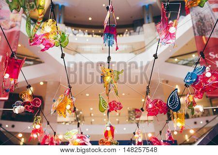 KUALA LUMPUR, MALAYSIA - SEPTEMBER 14: Lantern decorations in the mall during Mid-Autumn Festival aka Moon Cake Festival celebrations on September 14, 2016 in Kuala Lumpur Malaysia.
