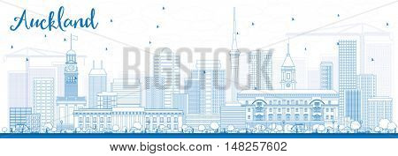 Outline Auckland Skyline with Blue Buildings. Vector Illustration. Business Travel and Tourism Concept with Modern Buildings. Image for Presentation Banner Placard and Web Site.