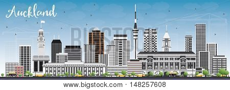 Auckland Skyline with Gray Buildings and Blue Sky. Vector Illustration. Business Travel and Tourism Concept with Modern Buildings. Image for Presentation Banner Placard and Web Site.