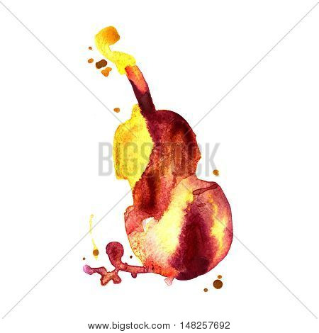 watercolor hand drawn of classical music instrument contrabass