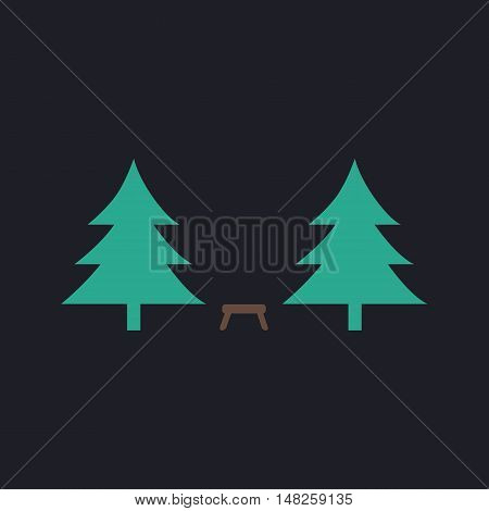 Camping  Color vector icon on dark background
