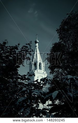 Watch tower of Spaso-Prilutsky Monastery in the Vologda city, Russia. Bell tower. Monochrome gamma
