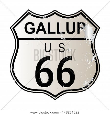 Gallup Route 66 traffic sign over a white background and the legend ROUTE US 66