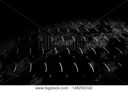 monochrome rusty diamond plate with lighting and drop of paint on black shadow background. 3d illustration.