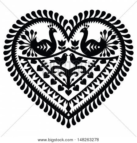 Polish folk art  heart pattern for Valentine's Day - Wycinanki Kurpiowskie (Kurpie Papercuts)