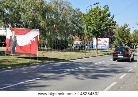 Breitenbrunn, Burgenland, Austria - September 1, 2016: Billboards of Van der Bellen and Norbert Hofer, two Austrian presidential candidates