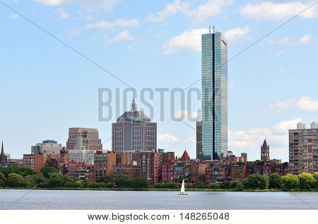 Boston Back Bay Skyline viewed from Cambridge, Boston, Massachusetts, USA.