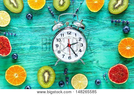 alarm clock - time to breakfast with fruits on green wooden table, mock-up