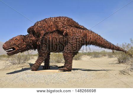 Fake dinosaur at Anza Borrego Desert, Southern California