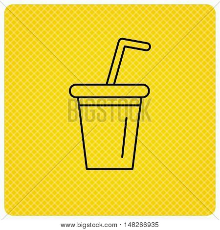 Soft drink icon. Soda sign. Linear icon on orange background. Vector