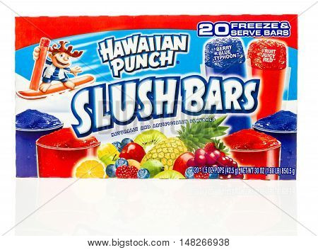Winneconne WI - 1 August 2016: Package of Hawaiian punch slush bars on an isolated background.