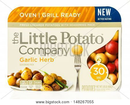 Winneconne WI - 1 August 2016: Package of The little potato company oven or grill ready potatoes in garlic herb flavor on an isolated background.