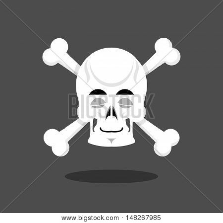 Sleeping Skull Emotion. Crossbones. Closed Eye Skeleton Head