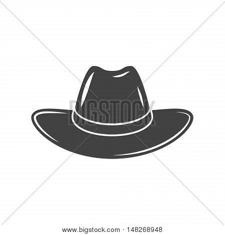 Cowboy hat. Black icon logo element vector illustration isolated on white background