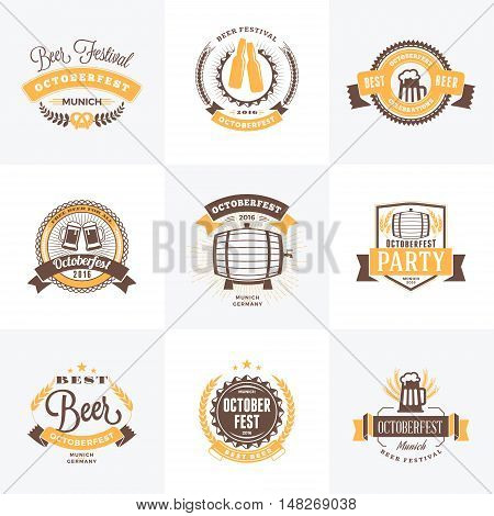 Beer Festival Octoberfest Celebrations. Set Of Retro Vintage Beer Badges, Labels, Emblems. Vector De