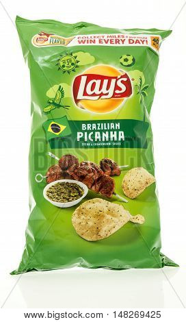 Winneconne WI - 12 August 2016: Bag of Lays chips in Brazillian Picanha flavor on an isolated background.