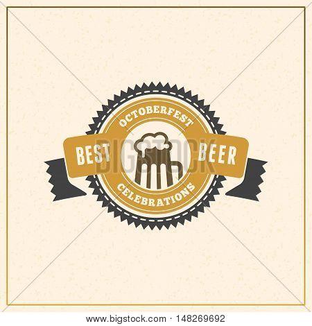 Beer Festival Octoberfest Celebration. Retro Style Badge, Label, Emblem. Vector Illustration. Beer L