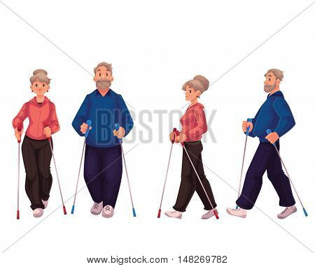 Couple of elder adult nordic walkers, cartoon style vector illustration isolated on white background. Man and woman going in for nordic walking, front and side view. Male and female Nordic walkers