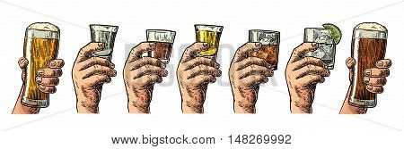 Male hand holding a glass with beer tequila vodka rum whiskey gin. Vintage color vector engraving illustration for label poster invitation to party and birthday.