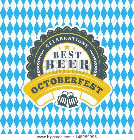 Beer Festival Octoberfest Celebration. Retro Style Badge, Label, Emblem On Blue And White Rhombus Ba