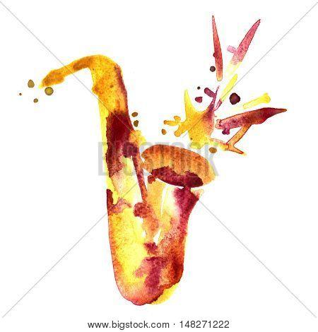 hand drawn classical alto saxophone on watercolor splash
