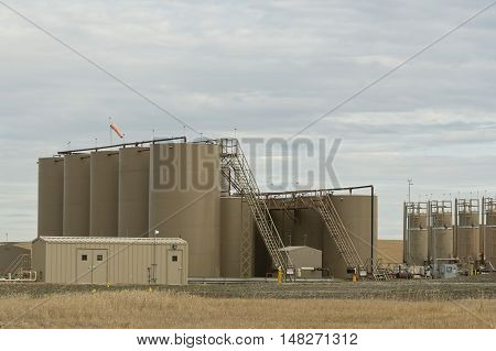 Storage tanks containing crude oil in North Dakota