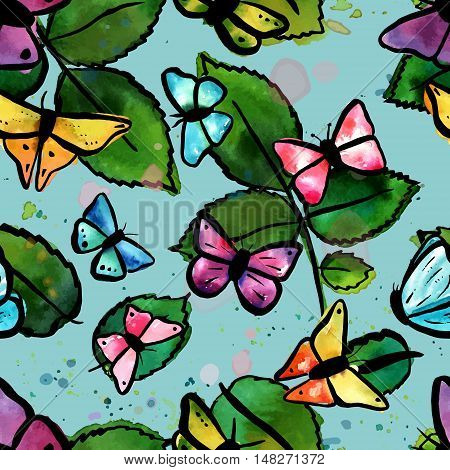 A seamless pattern with vector freehand watercolour drawings of green leaves and teal, pink, and purple butterflies on a blue background. Happy nature print