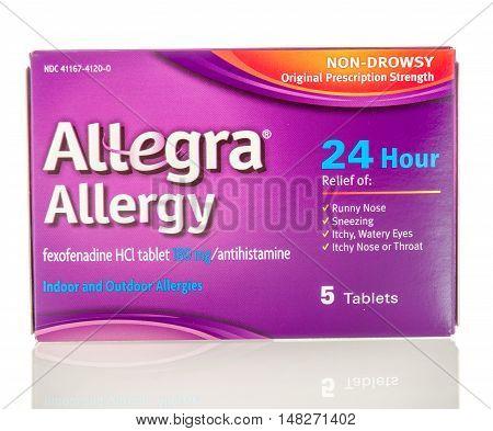 Winneconne WI - 27 August 2016: Allegra allergy medicine on an isolated background.