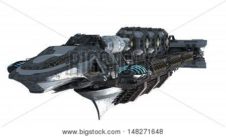 3d illustration of an interstellar spaceship for futuristic deep space travel or science fiction backgrounds, with the clipping path included in the file
