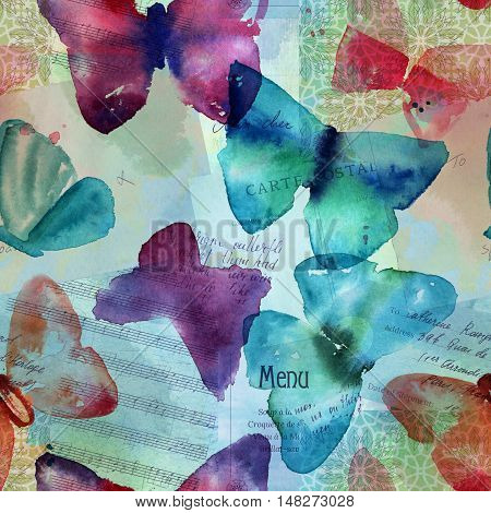A seamless pattern with abstract freehand watercolour butterflies in teal blue, pink, and purple, on a faded background with old ephemera: sheet music, Paris luggage tag, vintage postcard, etc