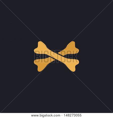 crossed bones Color vector icon on dark background