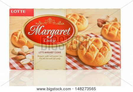 Winneconne WI - 30 August 2016: Box of Lotte Margaret cookie on an isolated background.