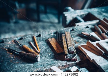 Old traditional carpenter's tools retro vintage style.