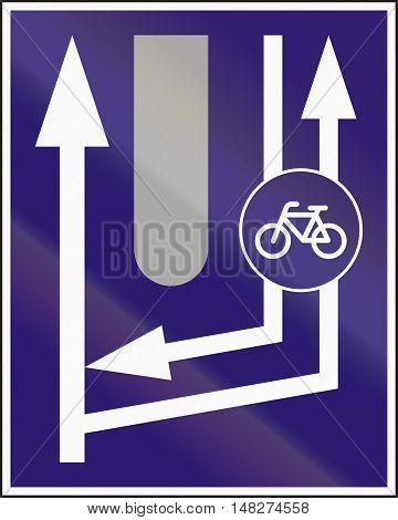 Informatory Hungarian Road Sign - Additional Two-way Bike Road Begins