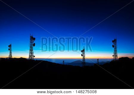 shadow phone antenna on nature background - concept technology