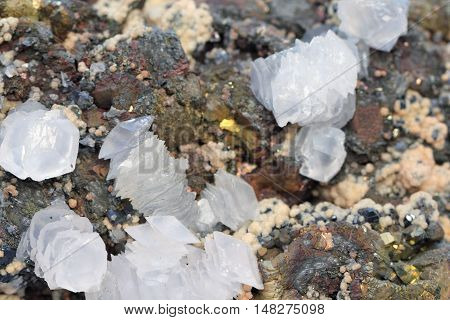 Background calcite, dolomite and cinnabar natural mineral