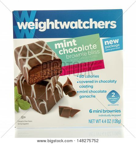 Winneconne WI - 29 July 2016: Box of Weightwatchers mint chocolate brownies on an isolated background.