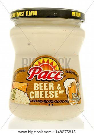 Winneconne WI - 29 July 2016: Jar of Pace beer & cheese dip on an isolated background.