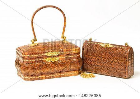 Woven Handmade Bag for WomenThai handicraft woman basketry isolate on white