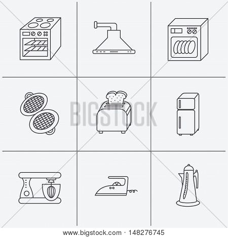 Dishwasher, refrigerator fridge and blender icons. Kitchen hood, mixer and toaster linear signs. Oven, teapot and waffle-iron icons. Linear icons on white background. Vector