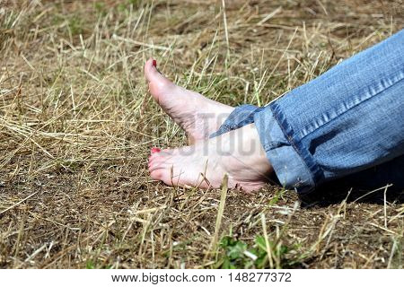 Barefoot female feet in rolled blue jeans resting on dry hay and taks sunbath in sunny day side view close-up with focus on feet
