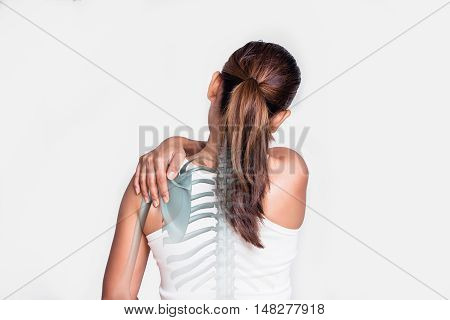 Asian woman with shoulder pain and see the bone.