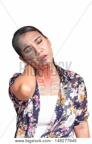 Asian woman with neck pain and see the neck bone.