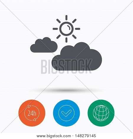 Cloud with sun icon. Sunny weather symbol. Check tick, 24 hours service and internet globe. Linear icons on white background. Vector