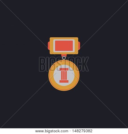 Medal Color vector icon on dark background