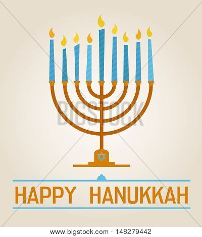 Happy Hanukkah poster with nine blue candles