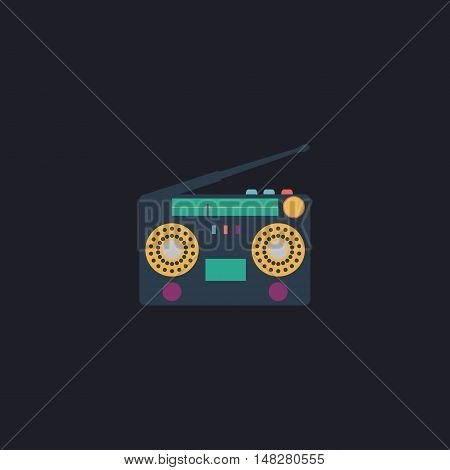 boombox Color vector icon on dark background