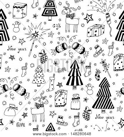 Christmas decoration seamless pattern. Toys, hand drawn gifts, engraving fur-trees, deer and gifts socks. New Year vector.